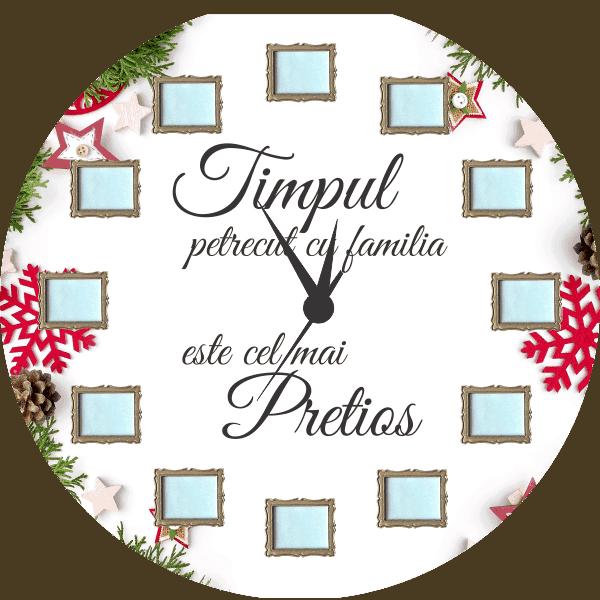 Ceas personalizat Crăciun - Familia
